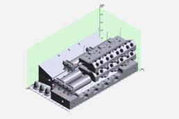 voxeljet的VX1000虚拟安装空间中的压力部件布置。