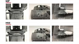 惠普Multijet Fusion和voxeljet HSS的边缘细节比较。